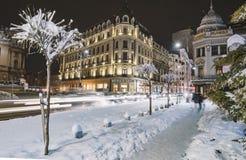 Winter nightscape in Bukarest Lizenzfreie Stockbilder