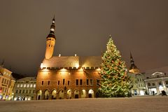 Winter nocturnal view of Town Hall. Tallinn. Estonia. Tallinn is the capital and largest city of Estonia; the Old Town is one of the best preserved medieval stock photography