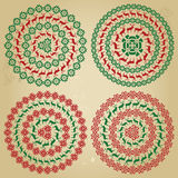 Winter Nordic Round Pattern Borders In Collection Stock Images