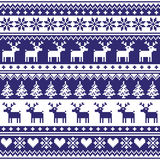 Winter, Nordic seamless navy blue pattern with reindeer Royalty Free Stock Photography