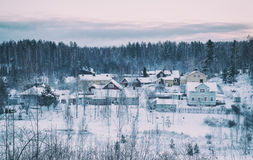 Winter northern town Stock Photo