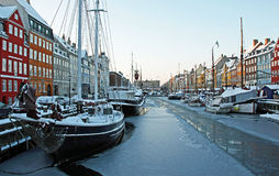 Winter in Nyhavn, Copenhagen. Denmark Royalty Free Stock Image