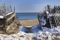 Winter at the ocean. A view of the ocean during winter at Salisbury Massachusetts Stock Images