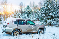 Winter off road driving Royalty Free Stock Images