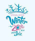 Winter 20% off sale. Handwritten vector lettering template. Sales Promotion Poster Stock Images