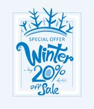 Winter 20% off sale. Handwritten vector lettering template. Sales Promotion Poster Stock Photography