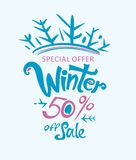 Winter 20% off sale. Handwritten vector lettering template. Sales Promotion Poster Royalty Free Stock Photography