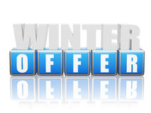 Winter offer - letters and block. 3d color letters and block with text - winter offer, business concept Stock Images