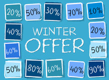 Winter offer and percentages in squares - retro blue label Royalty Free Stock Photography
