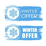 Winter offer with snowflake on blue drawn banners. Winter offer - text with snowflake sign on blue drawn banners, business seasonal concept Royalty Free Stock Photo