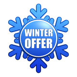 Winter offer snowflake label. Text winter offer - advertising label with snowflake like badge Stock Photos