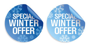Winter offer stickers. Royalty Free Stock Photography