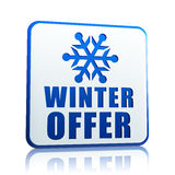 Winter offer white banner with snowflake symbol Stock Images