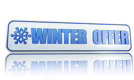 Winter offer white banner with snowflake symbol Stock Image