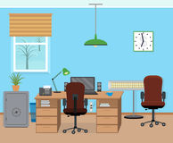 Winter office room interior with furniture and equipment. Stock Images