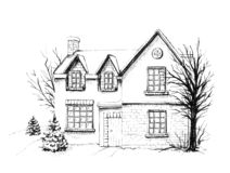 Graphic winter house in the snow stock illustration