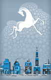 Winter in the old town. Authors illustration in vector Royalty Free Illustration
