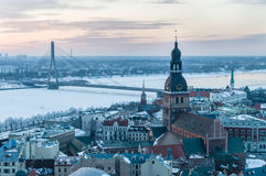 Winter Old town of Riga after sunset Stock Photo