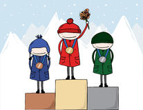 Winter Olympic Athletes Medal winners. On the podiums with gold, bronze and silver medals Royalty Free Stock Photo