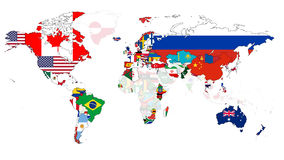Winter Olympic Flag Map. A map of the competing 2014 winter olympic countries. Non competing countries have their opacity lowered Royalty Free Stock Image