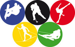 Winter olympic sports. Vector illustration of five winter olympics sports Stock Image