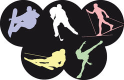 Winter olympic sports. Vector illustration of five winter olympics sports Stock Photography