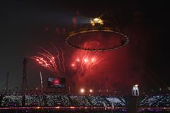 The 2018 Winter Olympics Opening Ceremony. PYEONGCHANG, SOUTH KOREA - FEBRUARY 12, 2018: The 2018 Winter Olympics Opening Ceremony. Olympic Games 2018 officially Stock Image