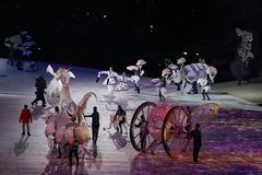 The 2018 Winter Olympics Opening Ceremony. PYEONGCHANG, SOUTH KOREA - FEBRUARY 9, 2018: The 2018 Winter Olympics Opening Ceremony. Olympic Games 2018 officially Stock Photo
