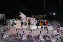 The 2018 Winter Olympics Opening Ceremony. PYEONGCHANG, SOUTH KOREA - FEBRUARY 9, 2018: The 2018 Winter Olympics Opening Ceremony. Olympic Games 2018 officially Royalty Free Stock Photo