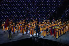The 2018 Winter Olympics Opening Ceremony. PYEONGCHANG, SOUTH KOREA - FEBRUARY 9, 2018: The 2018 Winter Olympics Opening Ceremony. Olympic Games 2018 officially Royalty Free Stock Photography