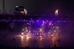 The 2018 Winter Olympics Opening Ceremony. PYEONGCHANG, SOUTH KOREA - FEBRUARY 9, 2018: The 2018 Winter Olympics Opening Ceremony. Olympic Games 2018 officially Royalty Free Stock Images