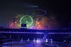 The 2018 Winter Olympics Opening Ceremony. PYEONGCHANG, SOUTH KOREA - FEBRUARY 12, 2018: The 2018 Winter Olympics Opening Ceremony. Olympic Games 2018 officially Royalty Free Stock Photos