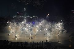 The 2018 Winter Olympics Opening Ceremony. PYEONGCHANG, SOUTH KOREA - FEBRUARY 12, 2018: The 2018 Winter Olympics Opening Ceremony. Olympic Games 2018 officially Stock Photography
