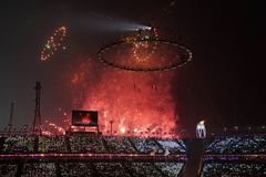 The 2018 Winter Olympics Opening Ceremony. PYEONGCHANG, SOUTH KOREA - FEBRUARY 12, 2018: The 2018 Winter Olympics Opening Ceremony. Olympic Games 2018 officially Royalty Free Stock Image
