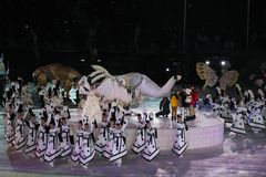 The 2018 Winter Olympics Opening Ceremony. PYEONGCHANG, SOUTH KOREA - FEBRUARY 9, 2018: The 2018 Winter Olympics Opening Ceremony. Olympic Games 2018 officially Stock Images