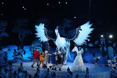 The 2018 Winter Olympics Opening Ceremony. PYEONGCHANG, SOUTH KOREA - FEBRUARY 9, 2018: The 2018 Winter Olympics Opening Ceremony. Olympic Games 2018 officially Stock Image