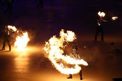 The 2018 Winter Olympics Opening Ceremony. PYEONGCHANG, SOUTH KOREA - FEBRUARY 9, 2018: The 2018 Winter Olympics Opening Ceremony. Olympic Games 2018 officially Royalty Free Stock Photos
