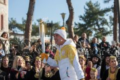 Winter Olympics torch relay arrived in Thessaloniki Royalty Free Stock Images