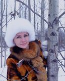 Winter one forest fun model happy people nature park clothing smiling face outdoor person fashion white coat winter woman snow fur Stock Photo