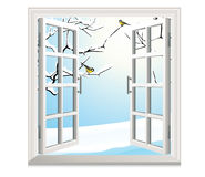 Winter open window Stock Photo