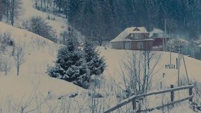 Winter. Сottage in a beautiful snow forest. Time lapse stock video footage