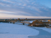 Winter in Ottawa. View from the Parliament Hill of the frozen river and bridge in Ottawa, Canada (with copy space Royalty Free Stock Image