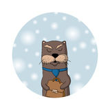 Winter otter manager. Christmas card. Busy otter manager in tie holding a case. Winter background with snowflakes. Icon or Chrismas card Stock Photography