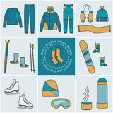 Winter outdoor activity Accessories, color graphic elements Royalty Free Stock Photography