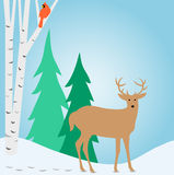 Winter Outdoor Deer Scene/eps Royalty Free Stock Images
