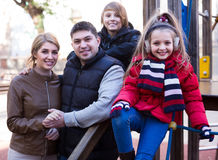 Winter outdoor portrait of  family with son and daughter Stock Photos