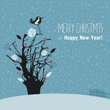 Winter Outdoor Scene. With tree and seasonal greetings Royalty Free Stock Photography