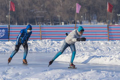 Winter outdoor skating enthusiasts Royalty Free Stock Photos