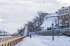 Winter outdoor slides in old Quebec city stock photography