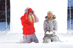 Winter outdoor studio shoot. Royalty Free Stock Photo